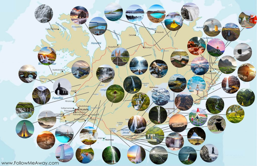 Detailed Iceland Ring Road Map with photos for every stop | map of the Ring Road in Iceland | Iceland map of the ring road