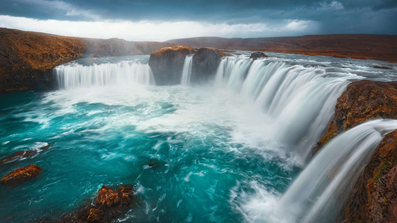 long exposure image of godafoss waterfall iceland