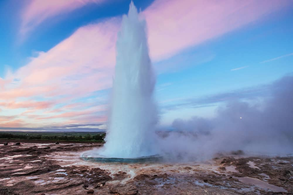 Strokkur Geyser erupting in South Iceland