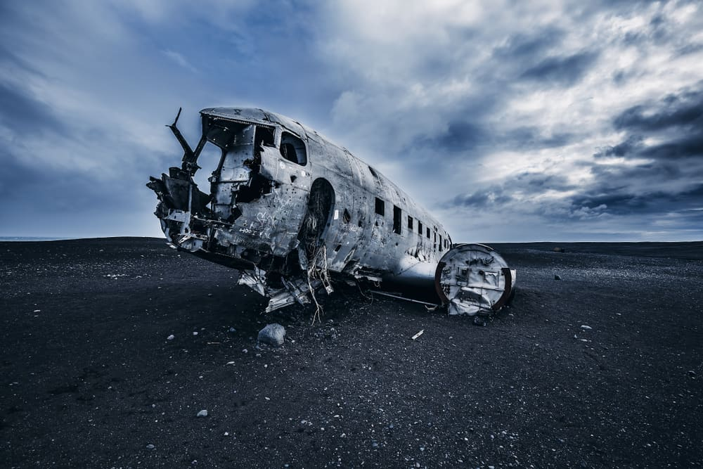 plane wreck located on south iceland