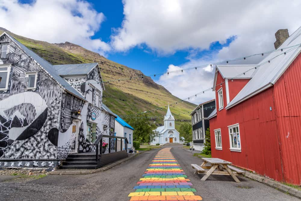 rainbow road in east iceland