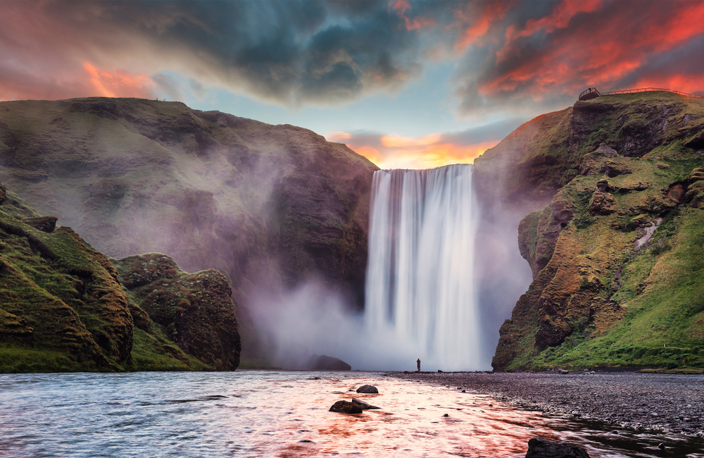 Skogafoss waterfall during your 4 days in Iceland