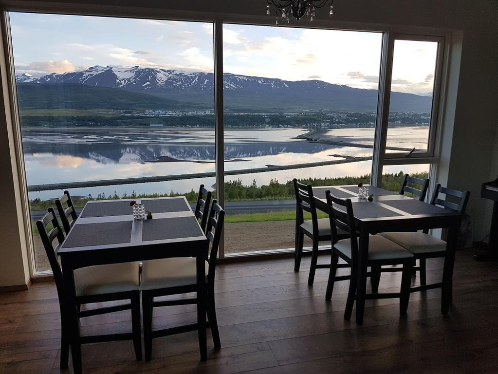 Photo of dining room at Hafdals Hotel located in Akureyri Icleand.