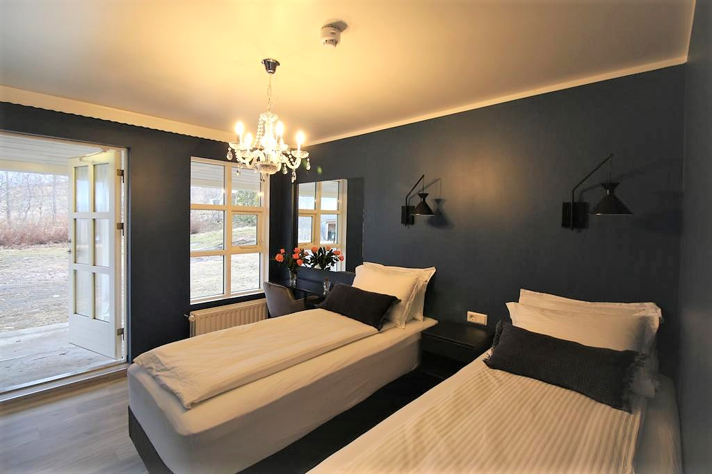 Photo of guest room at Hotel North which is one of the more moderately priced Aukureyri hotels located in Iceland.