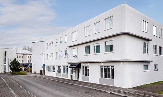 Photo of the outside of Hotel Nordurland located in Akureyri Iceland.