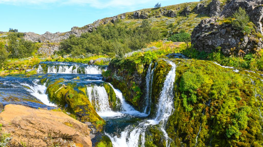 waterfall flowing through greenery best things to do in Iceland