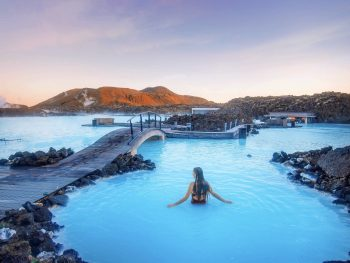 Woman bathing at the Blue Lagoon Iceland