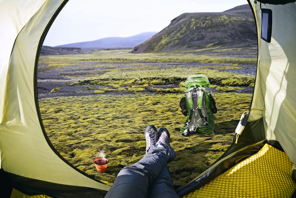 View out of a tent during camping in Iceland.