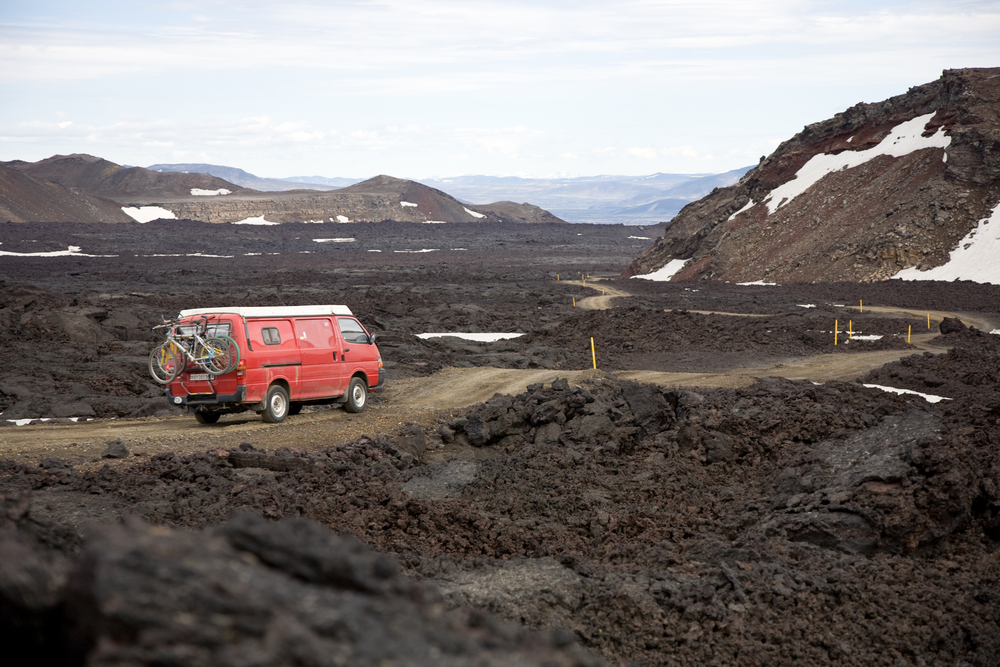 Camping in Iceland with a camper van.