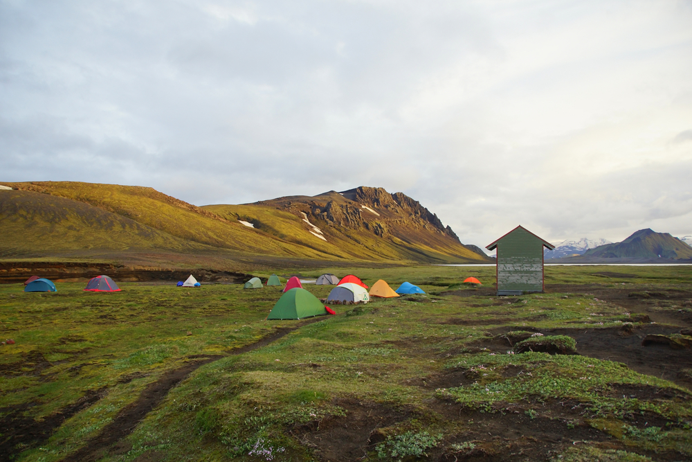 Typical Iceland campsite with tents.