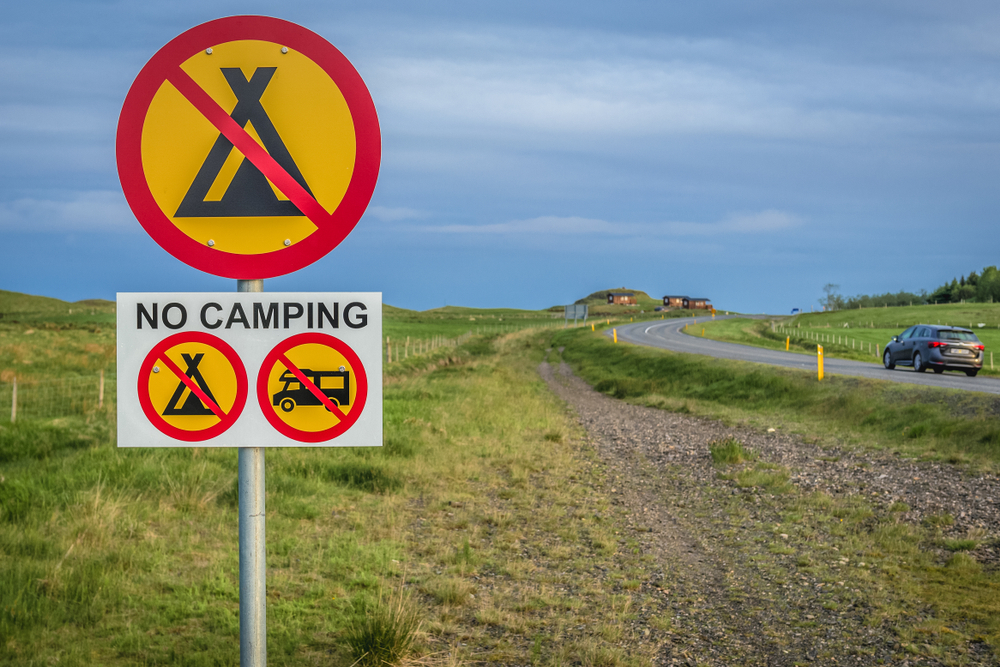 Road sign for NO camping in Iceland.