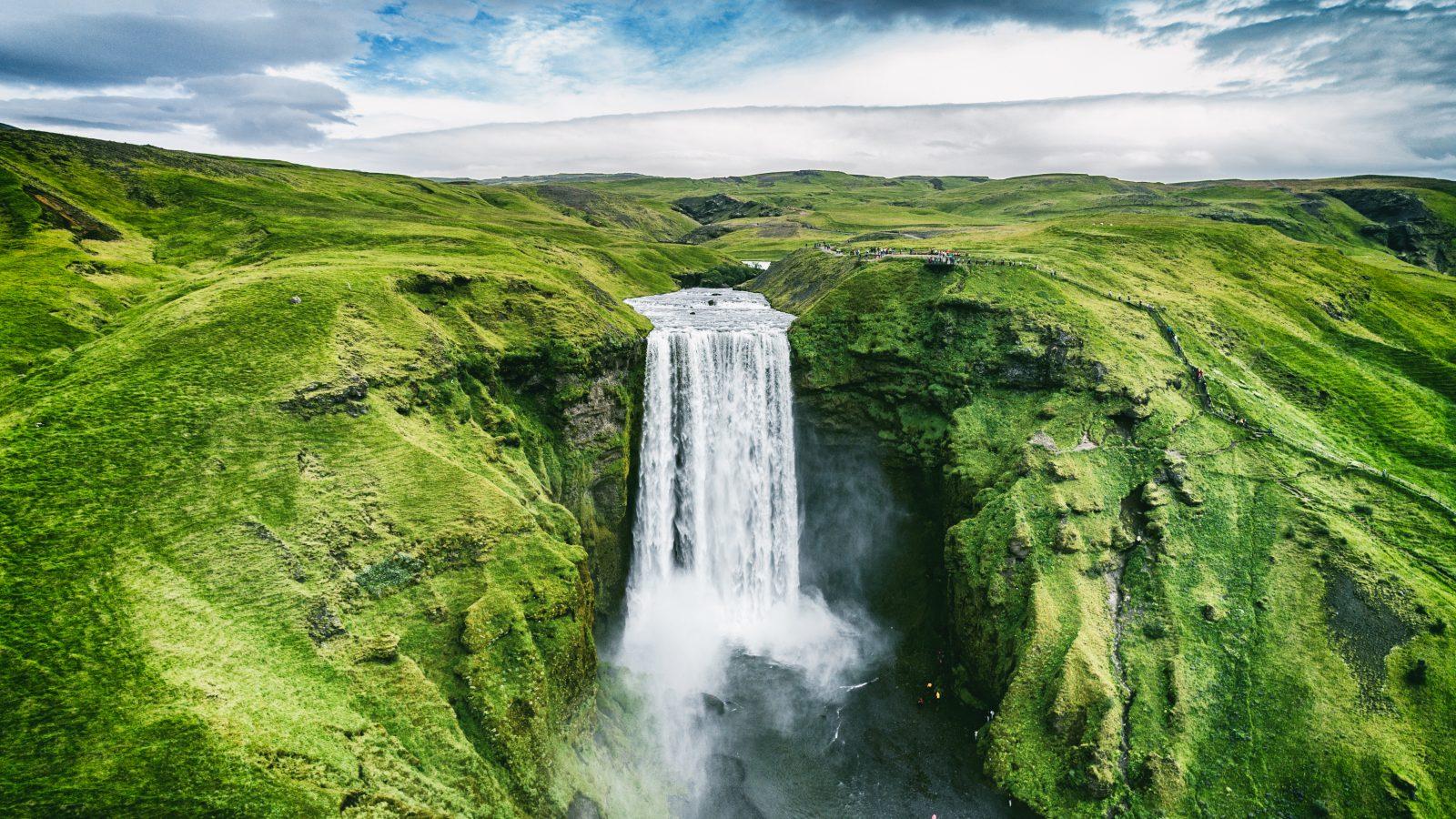 Photo of Skogafoss waterfall in Iceland.