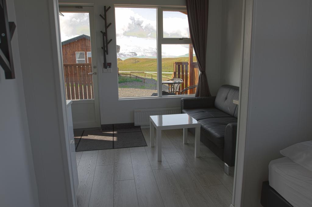 Photo of the inside of a guest cabin at Aurora Cabins located in Iceland.