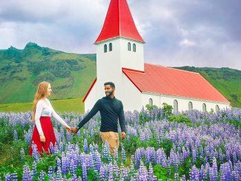 couple on their iceland honeymoon