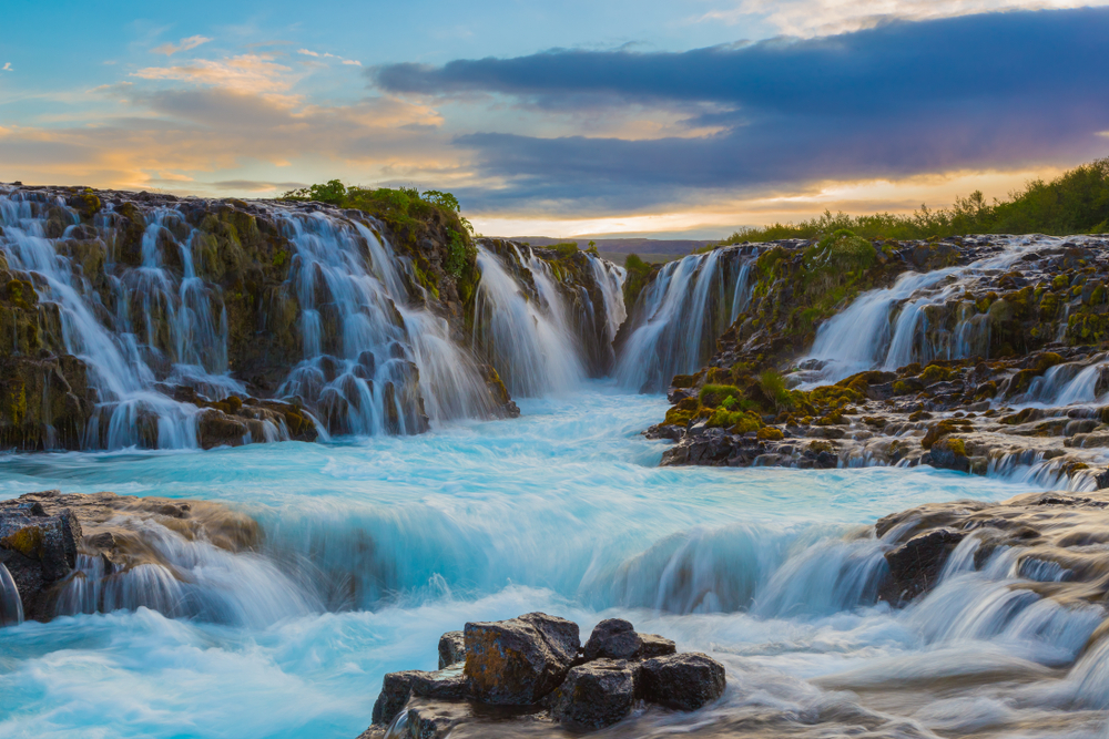The blue water of Bruarfoss Falls, Iceland