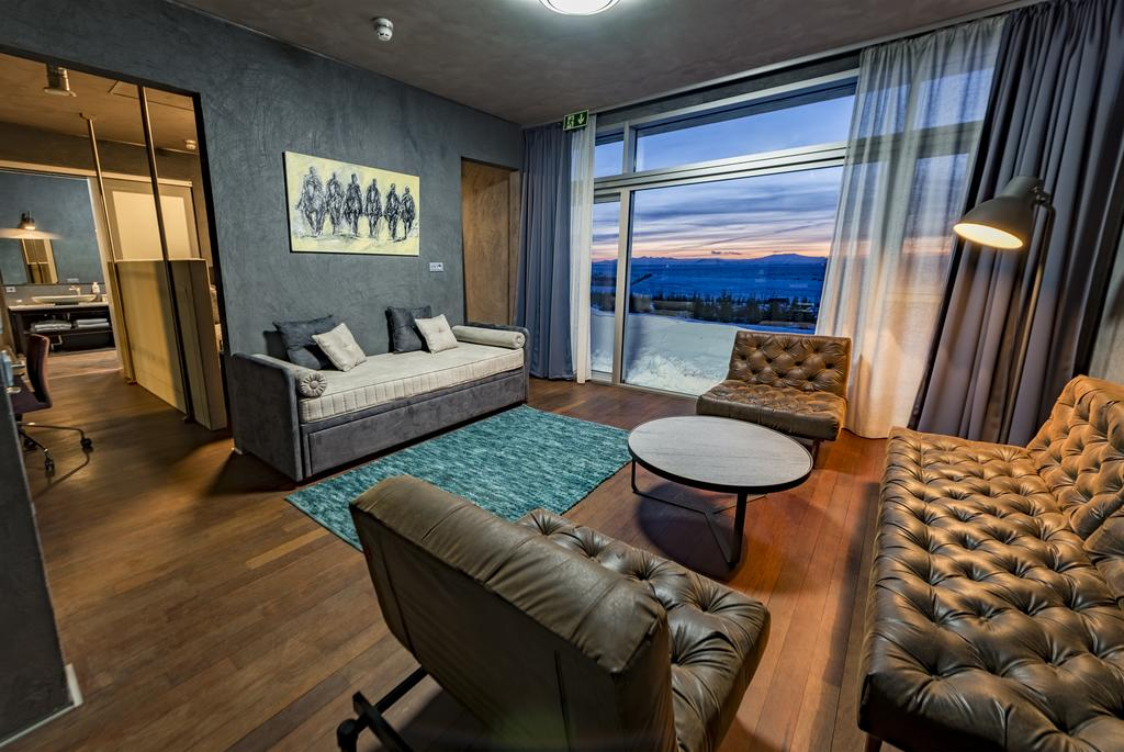 Photo of living room in guest room at 360 Hotel located in Iceland.