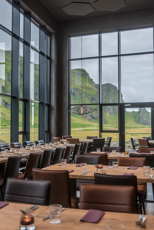 Photo of the restaurant dining room at Hotel Kria located in Vik, Iceland. One of the best luxury hotels in Iceland.