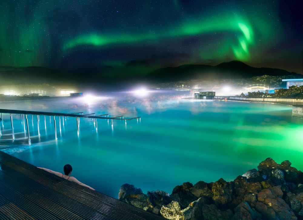 The blue lagoon can be a great place to relax and see the northern lights!