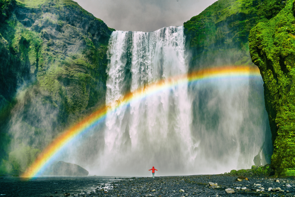 Reykjavik Day Trips Skogafoss Waterfall With Rainbow