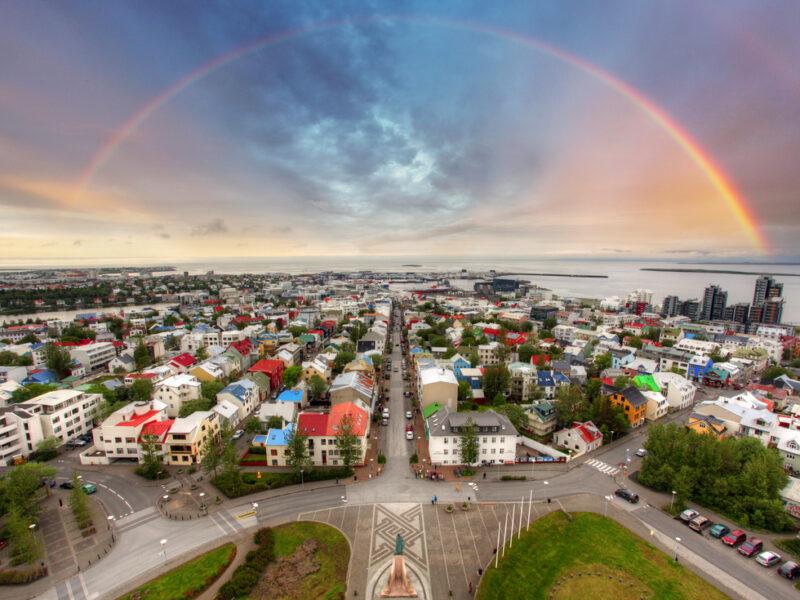 rainbow over downtown Reykjavik