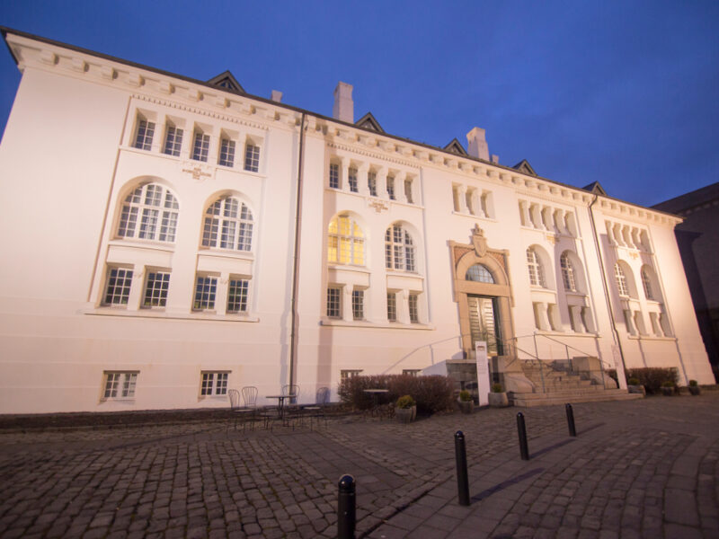 The National Museum in Reykjavik lit up at night.