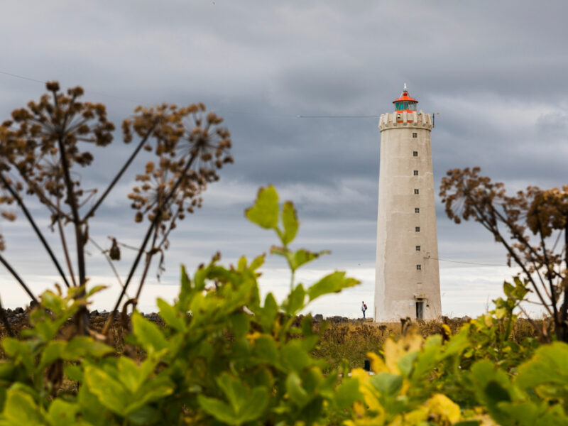 A lighthouse located on the Seltjarnarnes Peninsula.
