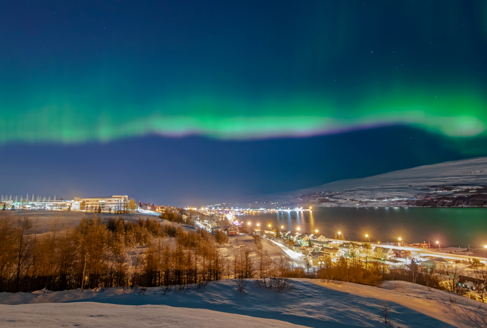 Akureyri is one of the towns in Iceland where you can see the Northern Lights