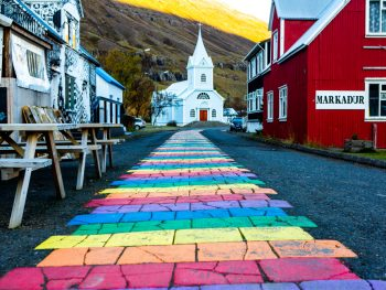 rainbow road at one of the prettiest towns in iceland