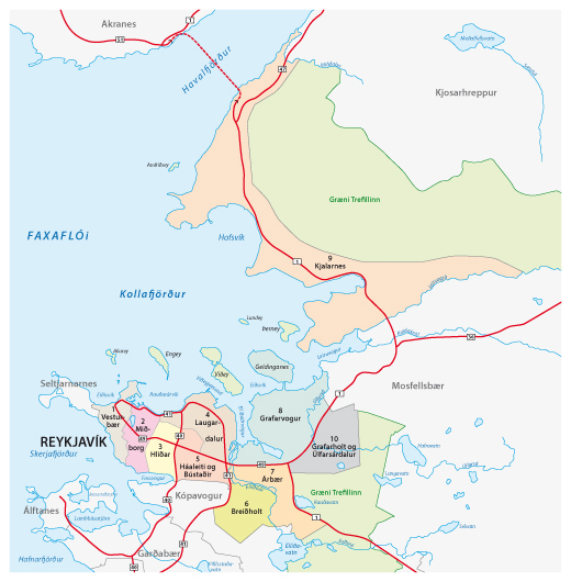 A Map of Where to stay in Reykjavik