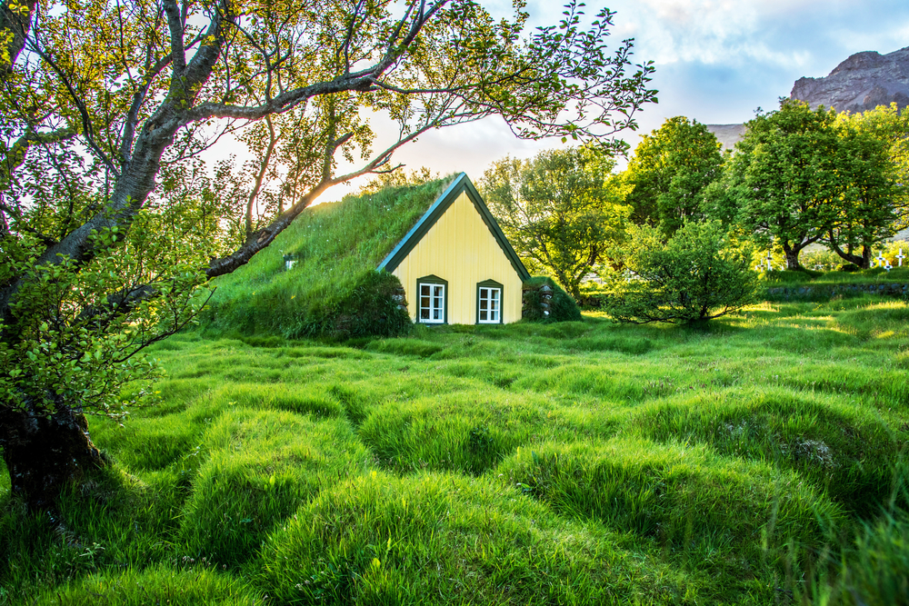 Photo of Iceland cottage in Summer, which just might be the best time to go to Iceland.