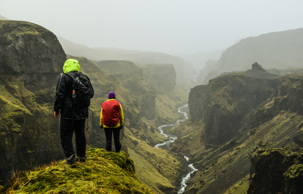 Photo of people hiking in Iceland.