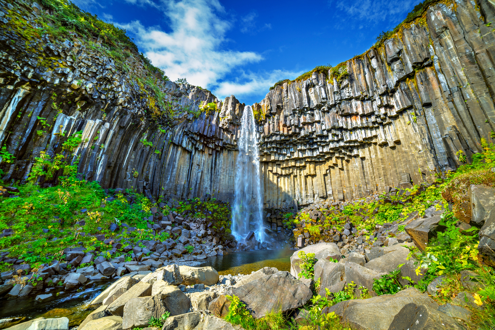basalt rocks and waterfalls in iceland