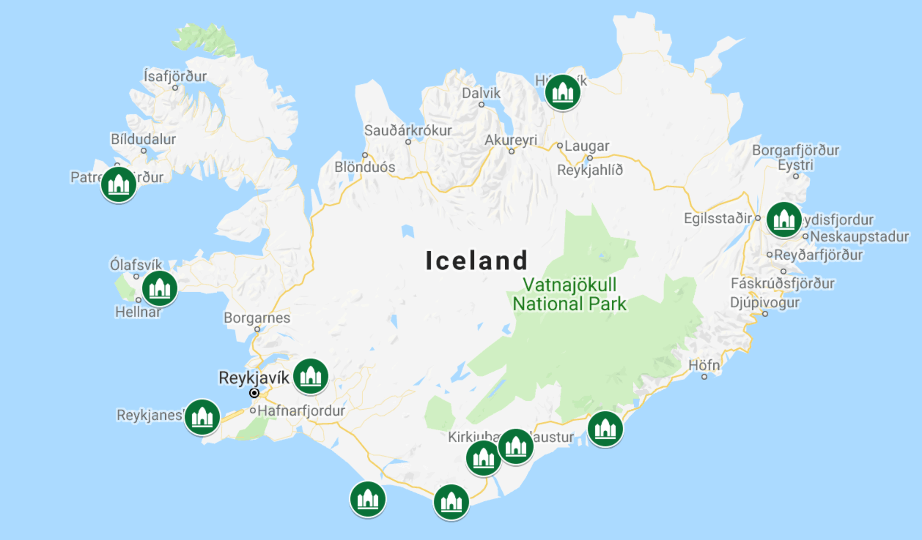 Map of the prettiest churches in Iceland you must see