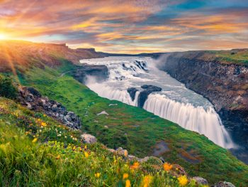 the Gullfoss waterfall in the summer along the Golden Circle Iceland