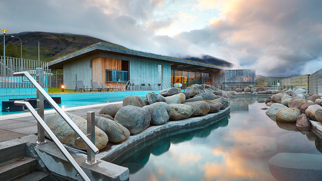 the geothermal heated pools at Laugarvatn Fontana along the Golden Circle Iceland