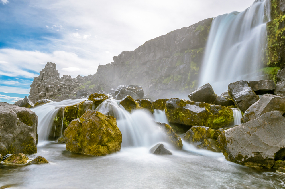 Oxararfoss waterfall in Thingvellir National Park along the Golden Circle Iceland