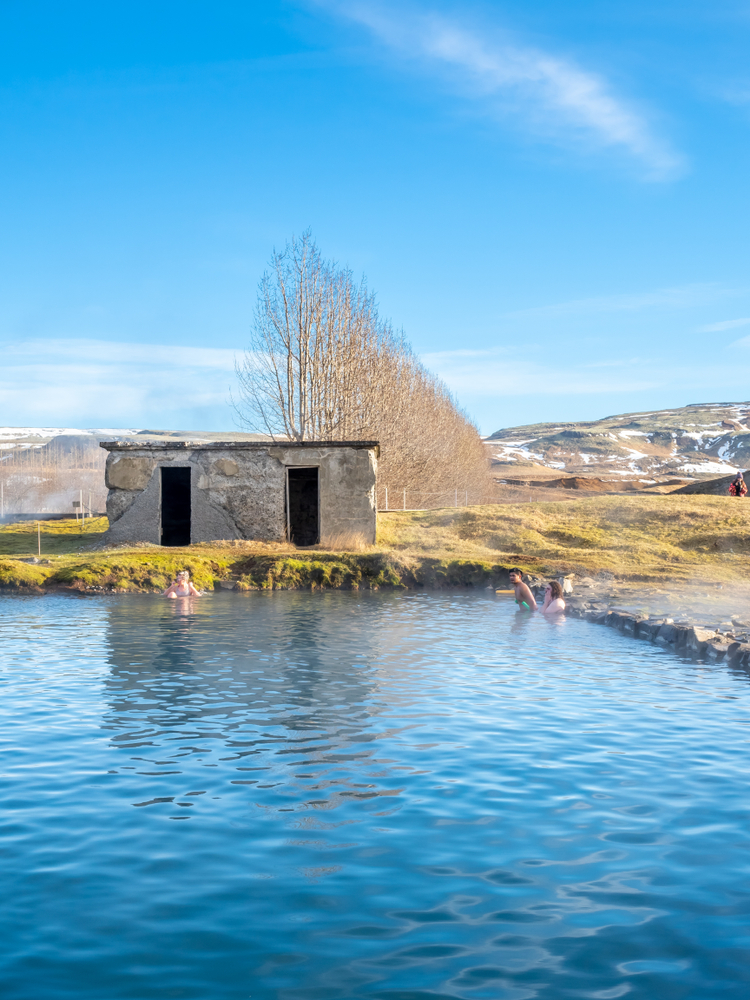 the Secret Lagoon along the Golden Circle Iceland