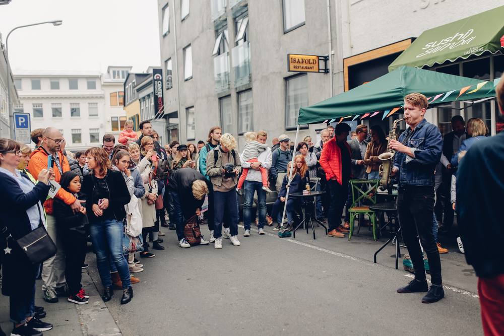 listening to musicians during culture night in Iceland in August