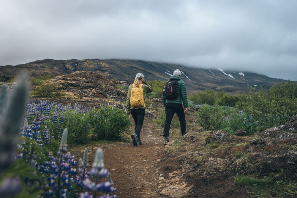 hiking to Glymur waterfall in Iceland in August