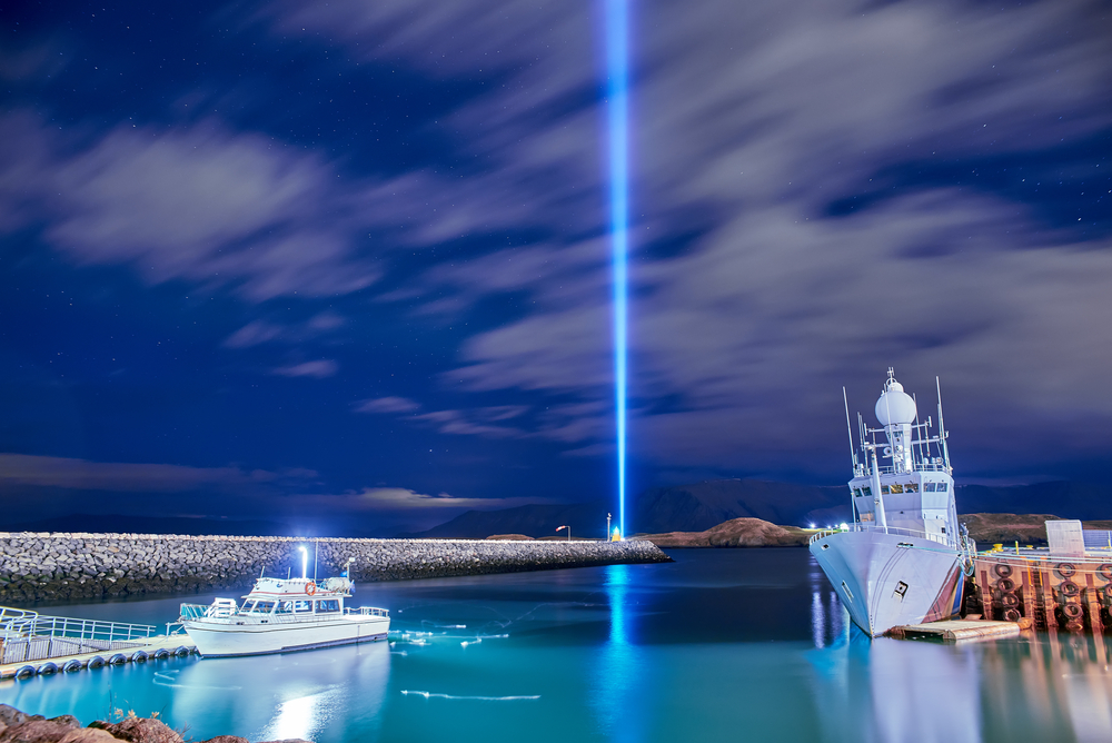 the Imagine Peace Tower on Videy during your trip to Iceland in October
