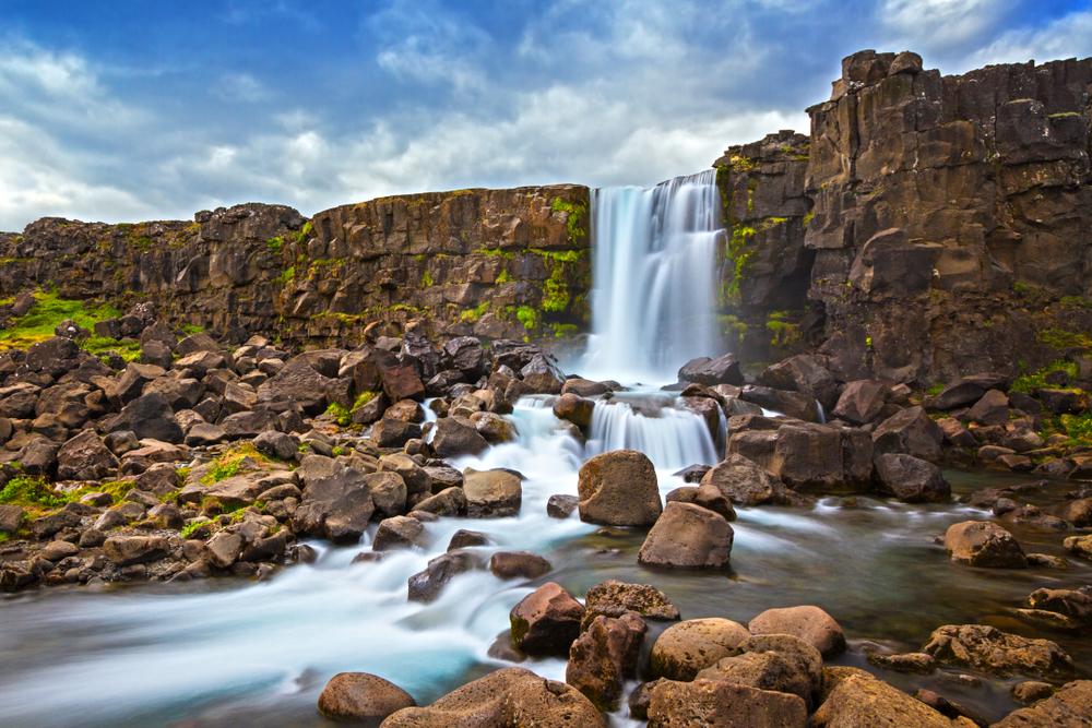 Oxarafoss a basalt waterfall in Iceland