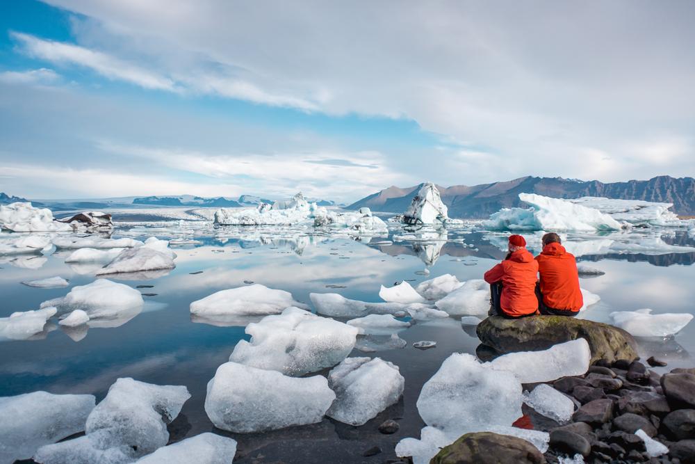 people at Jokulsarlon glacier lagoon in Iceland