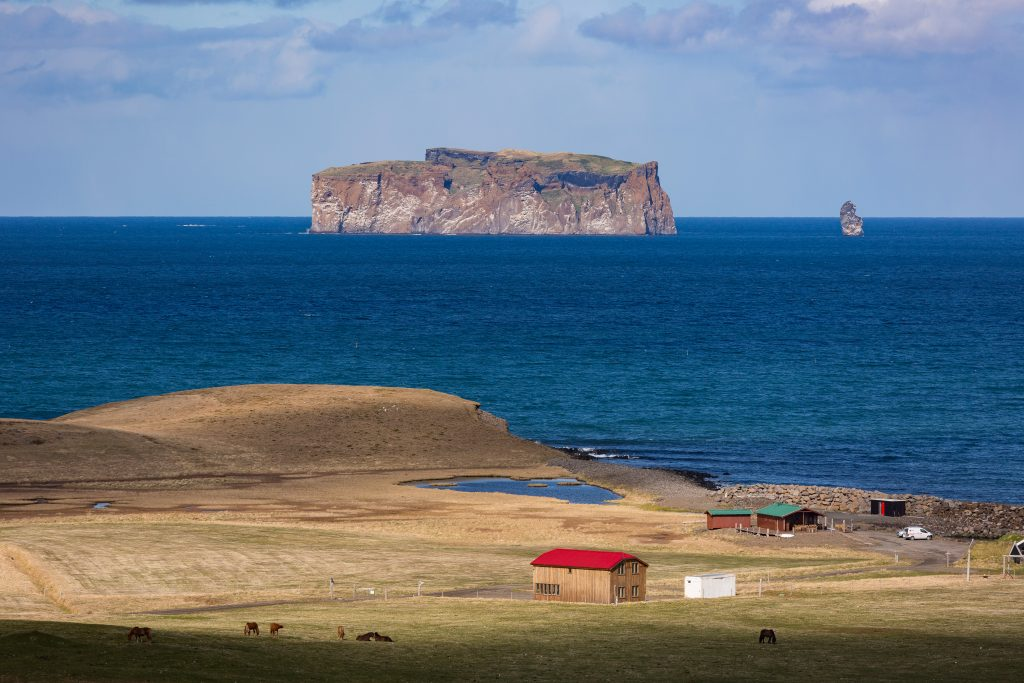 Drangey island from land in north iceland