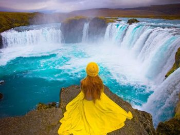 crescent godafoss waterfall in north iceland