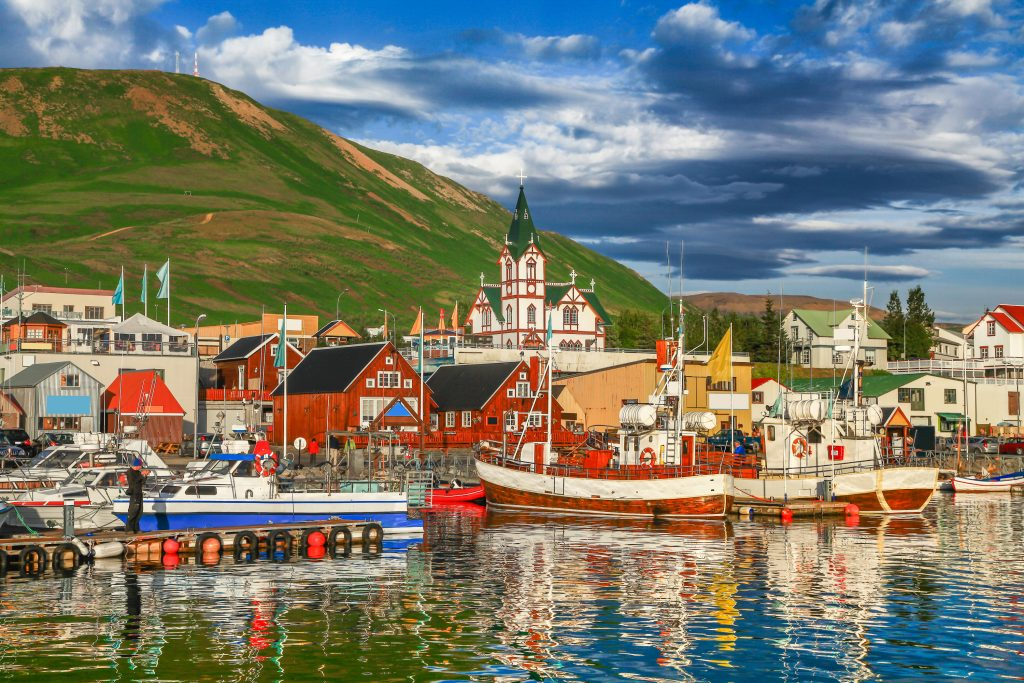 North iceland town near sea and mountain