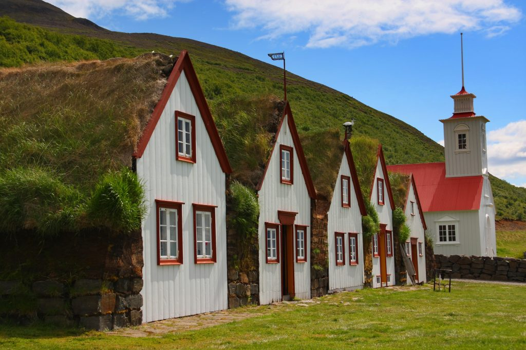 Turf homes in laufas in north iceland
