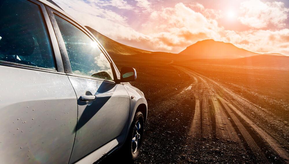 sunset next to an iceland car rental