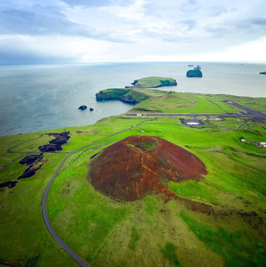drone view of a volcano in iceland