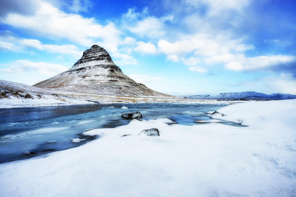 snow covered Kirjufell mountain in Iceland in winter