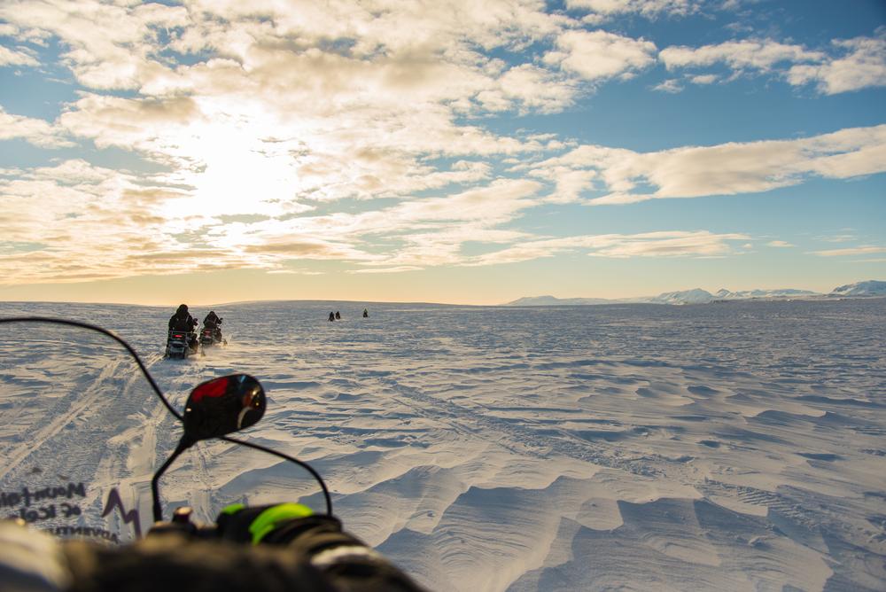 Langjökull Glacier in Iceland in winter taken from a snowmobile.